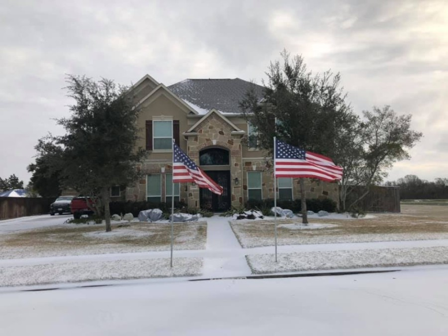 Woodcreek Reserve in Katy was dusted in snow Feb. 15. (Courtesy Valerie Rylant Worster)