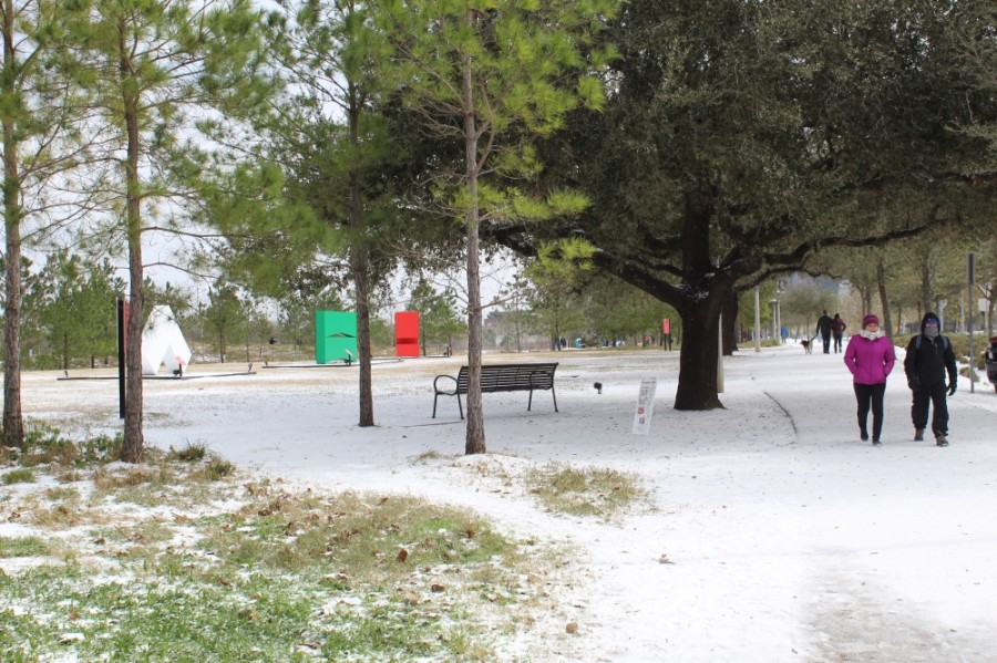 Buffalo Bayou park coated in snow and ice