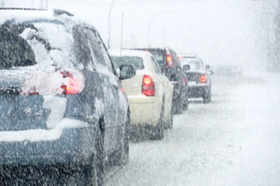 Cars during a snow storm