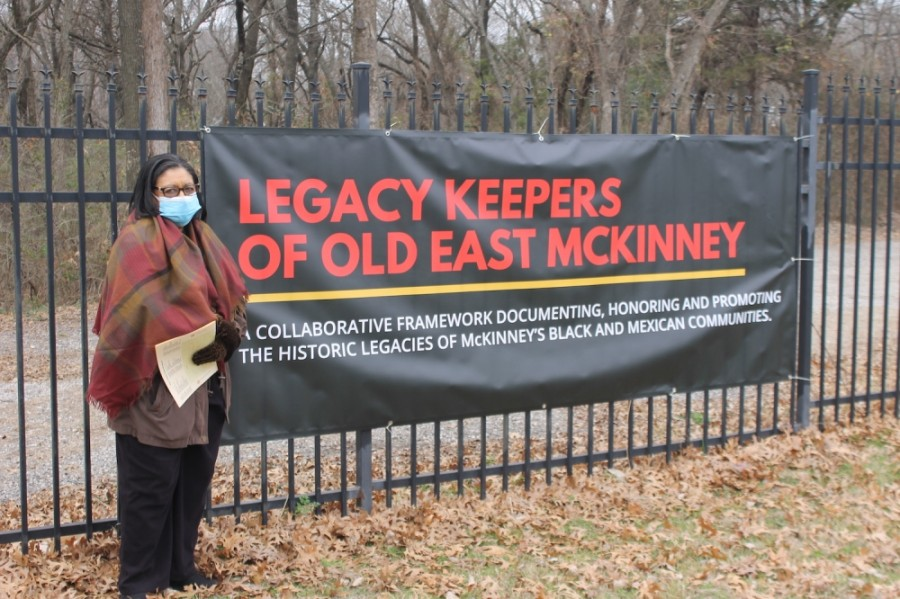 Lifelong resident Shirley Mack attends the Feb. 6 sacred walk event at Ross Cemetery in McKinney. (Courtesy Legacy Keepers of Old East McKinney)