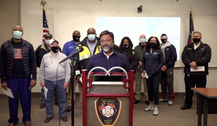 Missouri City officials updated the community on the ongoing effects of the winter storm at a press conference Feb. 17. (Screenshot courtesy city of Missouri City)