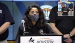 Harris County Judge Lina Hidalgo speaks at a Feb. 17 press conference. (Screenshot courtesy Harris County Office of Homeland Security & Emergency Managment)