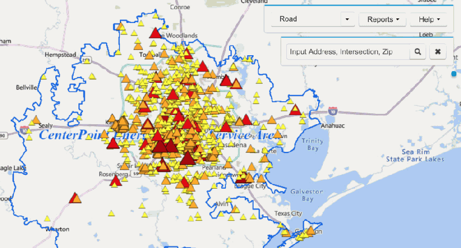CenterPoint Energy's outage tracker shows 98.5% of customers now have power, meaning just 39,618 customers are still without power as of 8:59 a.m. Feb. 18. (Screenshot via CenterPoint Energy)