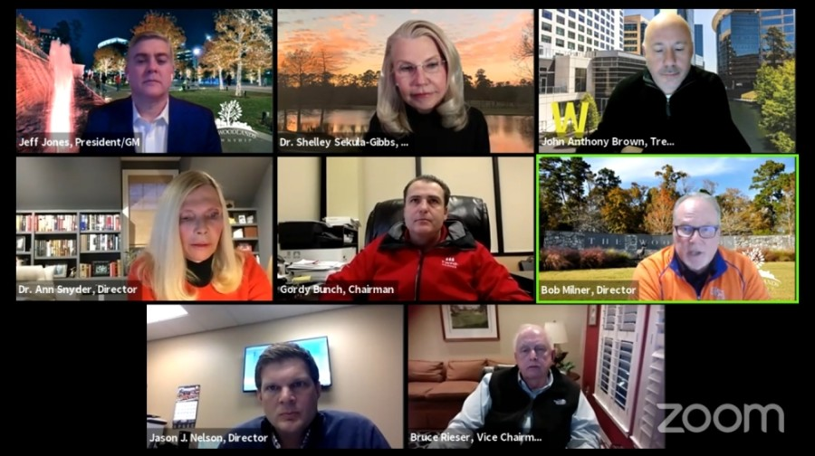 The Woodlands Township board of directors held a virtual meeting Feb. 18. (Screenshot courtesy The Woodlands Township)