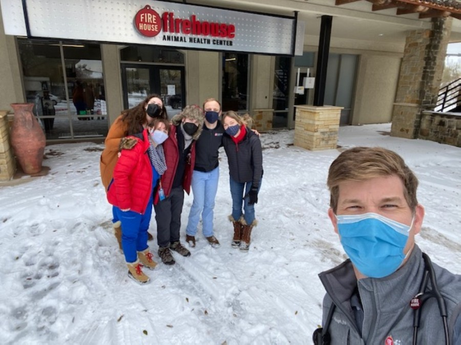 Dr. John Faught (right) and the team at Firehouse Animal Health Care in Westlake opened their doors to treat the community's pets amid the winter storm. (Courtesy Firehouse Animal Health Center)