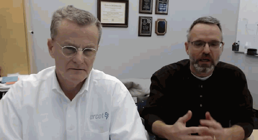 ERCOT president and chief executive Bill Magness (left) was joined by the electric grid manager's senior director of system operations Dan Woodfin on Feb. 19 for a briefing on the company's emergency operations. (Screenshot via ERCOT livestream)