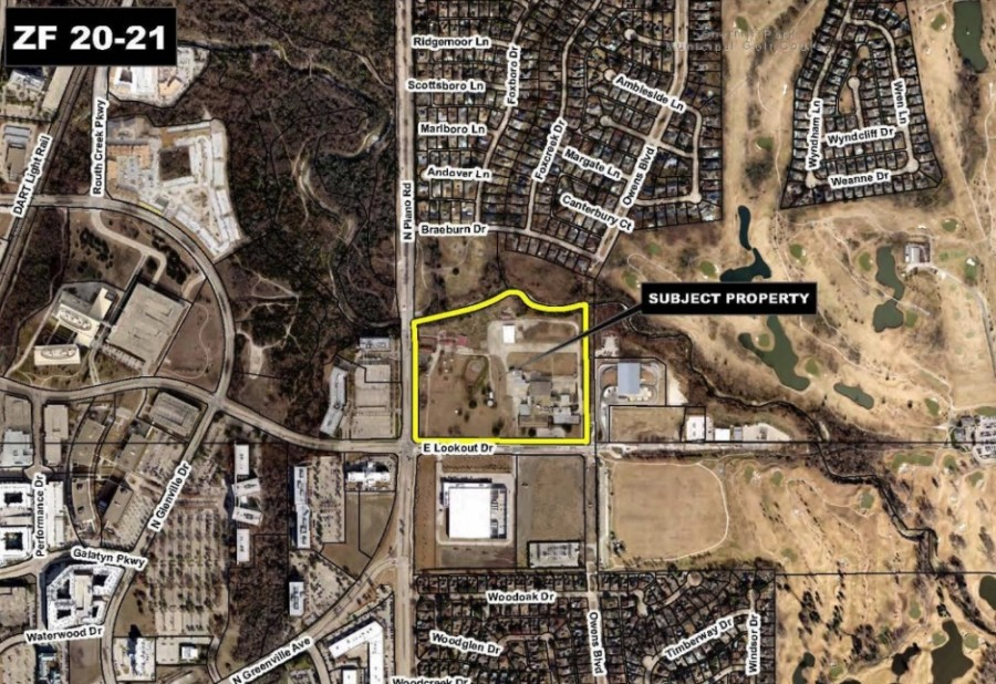 The 27-acre parcel at the northeast corner of Plano Road and Lookout Drive, known as Owens Spring Creek Farm, has been the subject of two rezoning proposals over the past few months. The latest, which would have brought three spec warehouses to the property, was rejected by City Council. (Courtesy city of Richardson)
