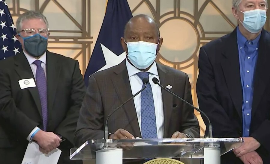 Houston Mayor Sylvester Turner asked Houston-area residents to contribute to a relief fund to help the community recover from the winter storm. (Screenshot via HTV)