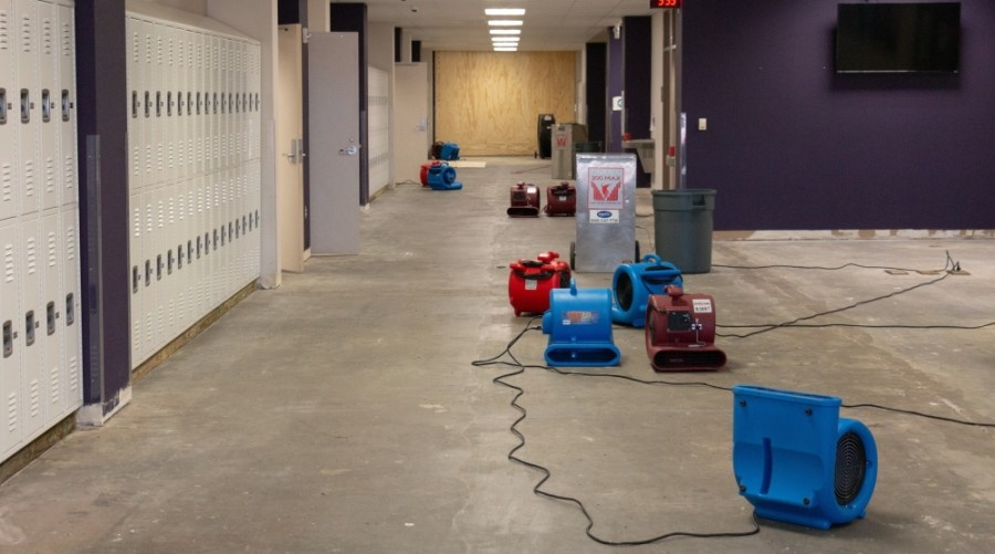 The carpet in a hallway at Humble High School was quickly removed due to a sprinkler head that froze and burst during the winter storm. (Courtesy Humble ISD)