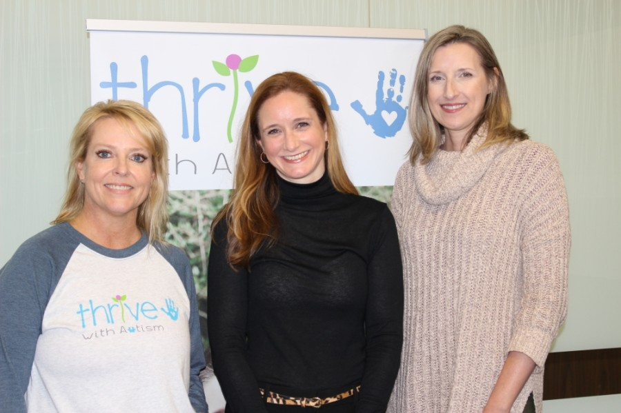 From left to right: Director of Community Relations Stacy Grimes, founder and President Elizabeth Goldsmith, and Licensed Behavior Analyst Adrienne Sodemann help lead Thrive with Autism. (Adriana Rezal/Community Impact Newspaper)