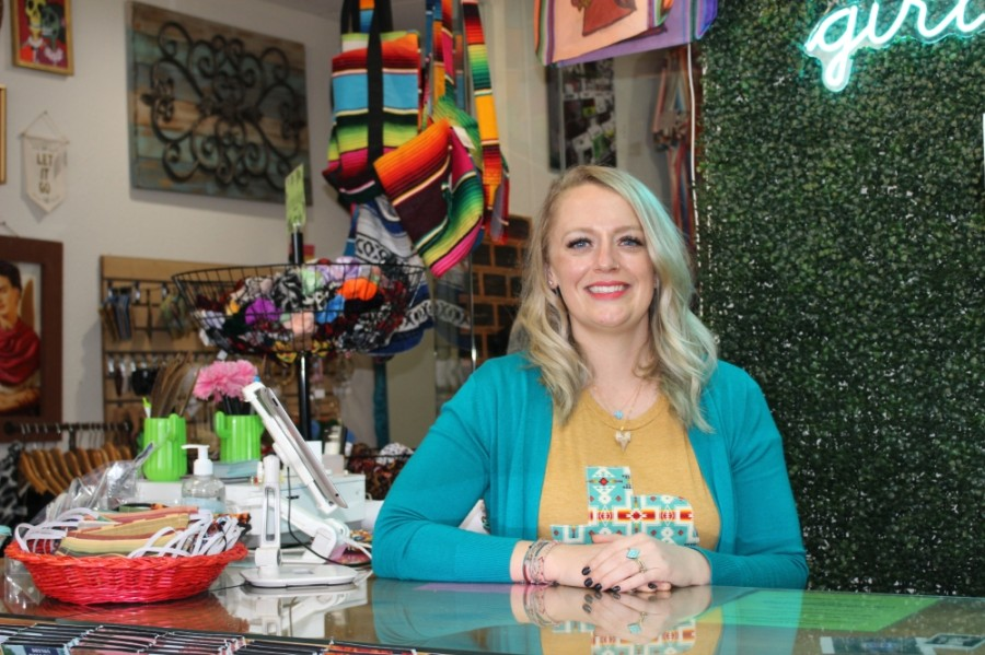 Business owner Morgan Calhoun opened Sweet Texas Treasures Boutique in Montgomery in September 2016. (Adriana Rezal/Community Impact Newspaper)