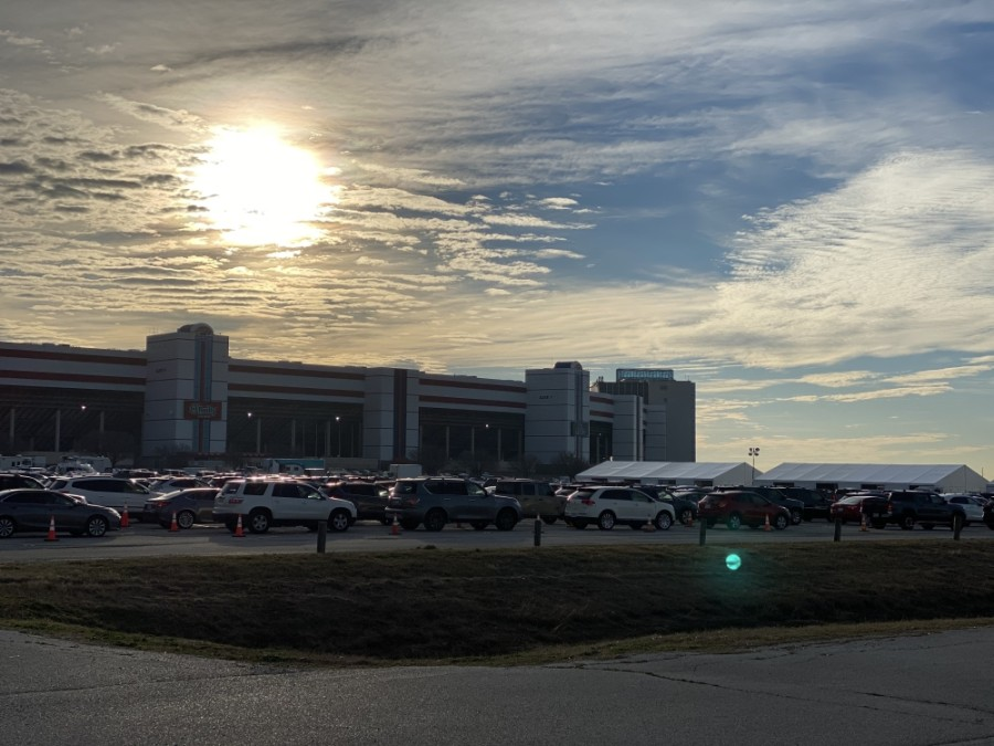 Tens of thousands of people have been vaccinated at Denton County's vaccine drive-thru clinics at Texas Motor Speedway in Fort Worth. (Courtesy Texas Motor Speedway)