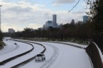 Snow covers I-45 in Houston during a winter storm that hit Texas the night of Feb. 14. (Shawn Arrajj/Community Impact Newspaper)