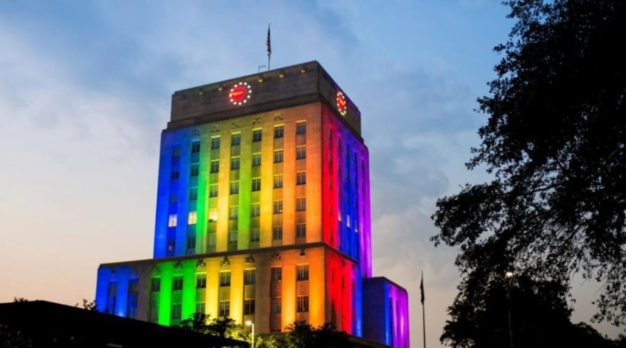 Houston City Hall in rainbow lighting