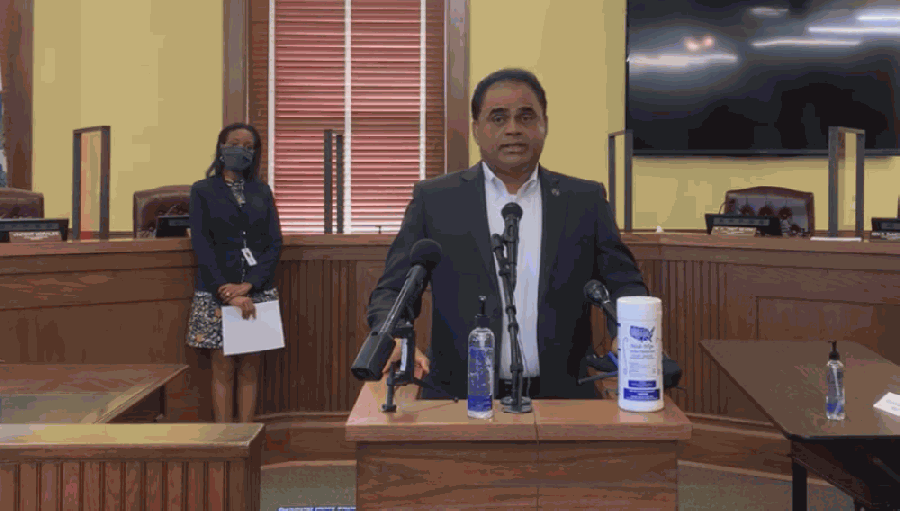 Fort Bend County Judge KP George is encouraging residents to continue wearing masks to stop the spread of COVID-19 despite a new executive order repealing the statewide mask mandate. (Screenshot courtesy of Fort Bend County)