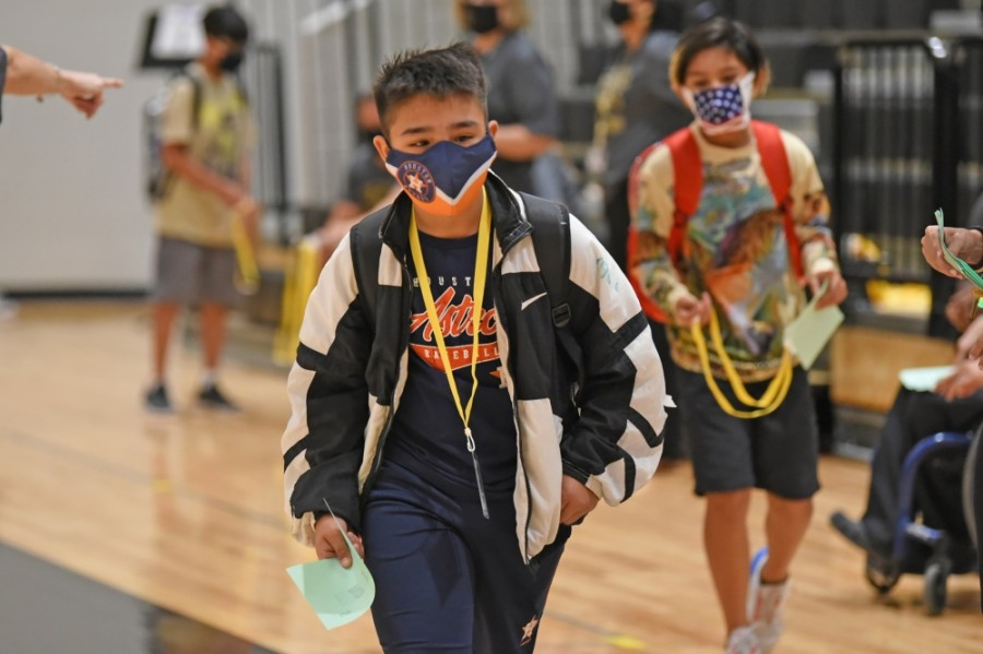A face mask policy has been in place this school year—it states that all staff and pre-K-12 students must wear masks in common areas and in classrooms when social distancing is not feasible. (Courtesy Cy-Fair ISD)