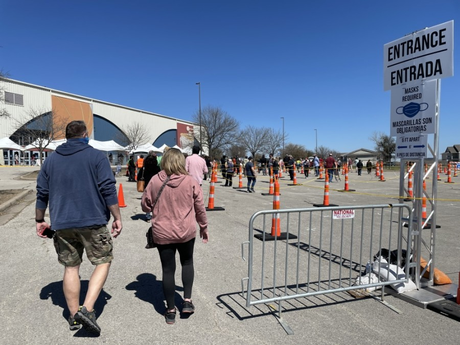 People wait in line to receive a vaccine at an Austin Public Health vaccination site. (Nicholas Cicale/Community Impact Newspaper)