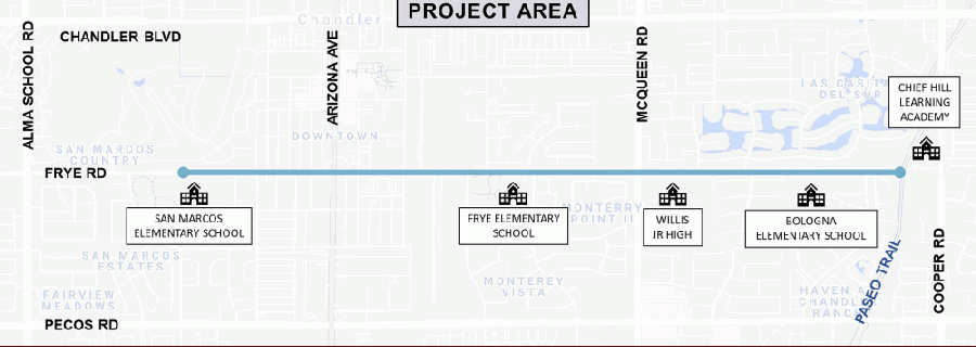 An effort is underway to improve Frye Road for bicycle use to connect the area to the larger trail system within Chandler. (Courtesy city of Chandler)