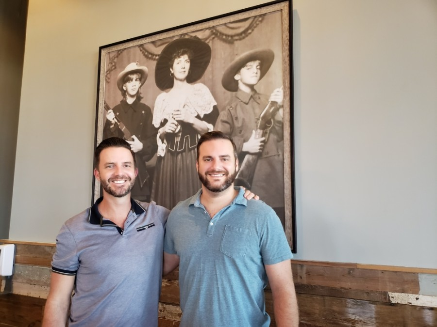 From left: Owners and brothers Trey and Ryan Wolslager opened Republic Kitchen and Bar in 2019. (Ali Linan/Community Impact Newspaper)