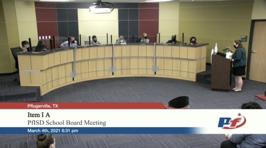 Pflugerville resident Amy Brown addresses the Pflugerville ISD board of trustees March 4. (Screenshot courtesy Pflugerville ISD)