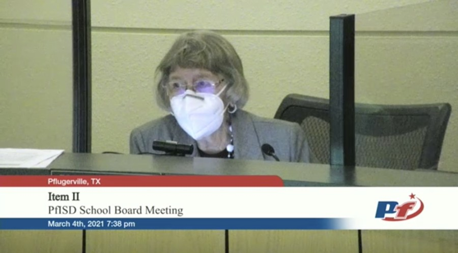 """""""One of the pillars of our community has been a balanced budget,"""" board President Vernagene Mott said. """"For staff, when we're looking at programs or whatever possibilities, we're going to have to encourage innovativeness, collaboration with all of our leaders at all levels."""" (Screenshot courtesy Pflugerville ISD)"""