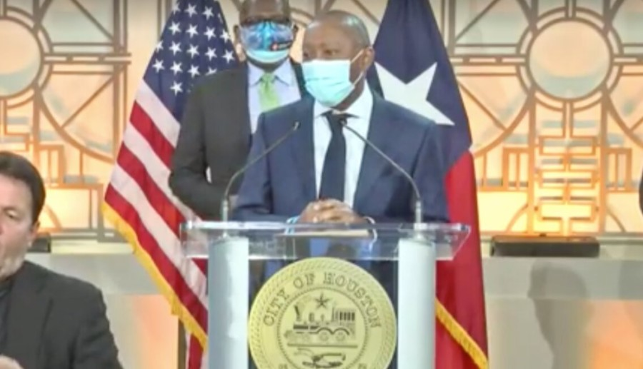 Houston Mayor Sylvester Turner speaking at a press conference