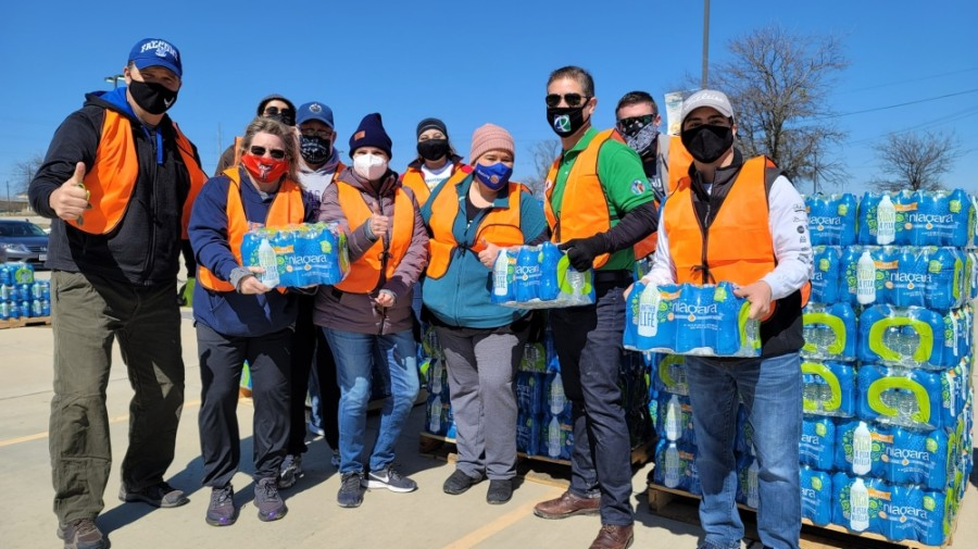 Pflugerville volunteers distributed more than 2,500 cases of water to residents in need. (Courtesy Rotary Club of Pflugerville)