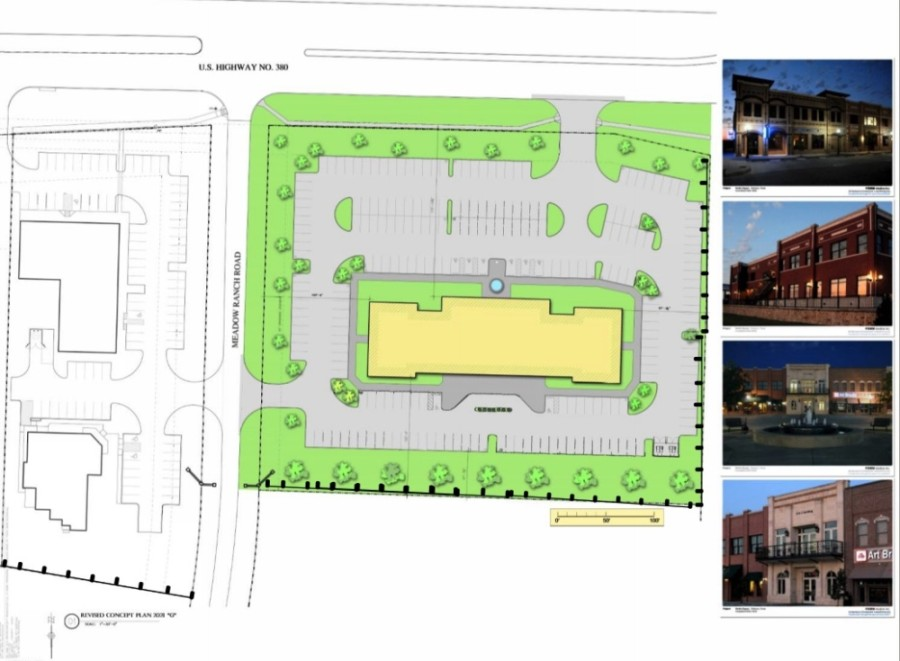 The proposed office and retail development is pictured on the right, and was pitched as a two-story office building. It is opposite an existing veterinarian practice on the left. (Illustration courtesy city of McKinney)