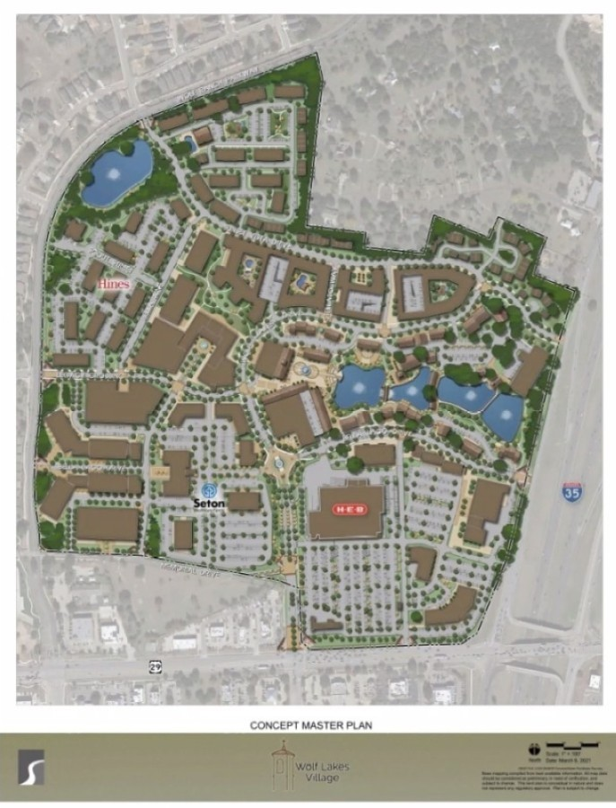 Wolf Lakes Village presented a revised plan for the development March 9. (Rendering courtesy Wolf Lakes Village)