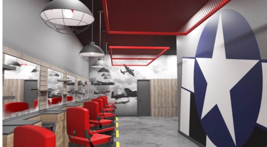 A rendering of the interior of Bazooka Charlie's