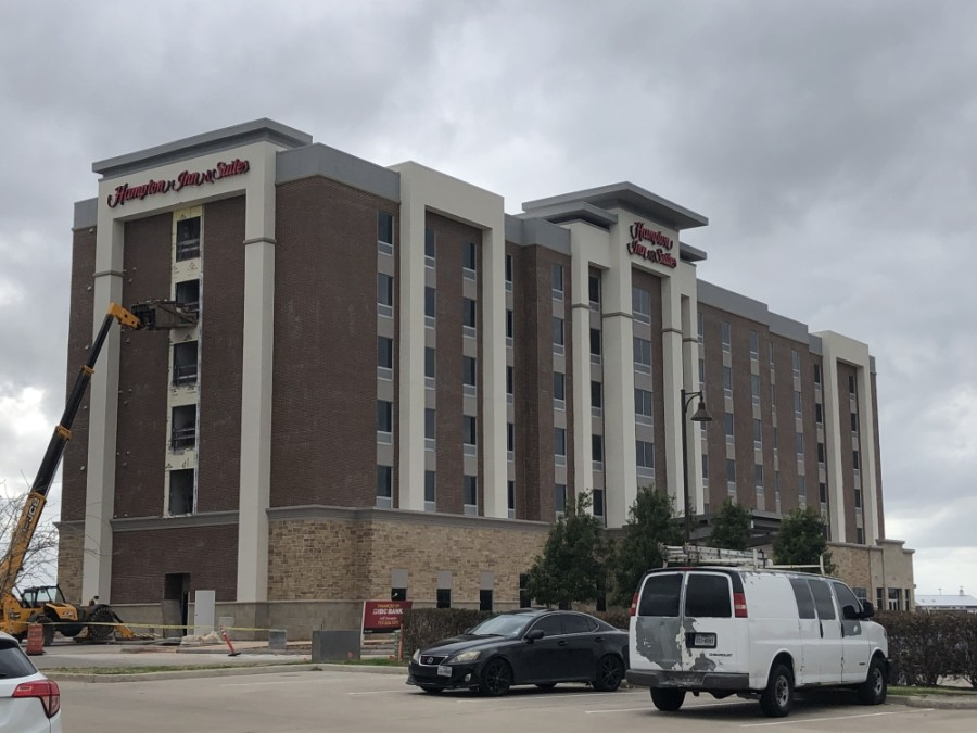 Construction is progressing on the Hampton Inn & Suites located at the intersection of Hwy. 90A and Hwy. 6 in Sugar Land. (Claire Shoop/Community Impact Newspaper)