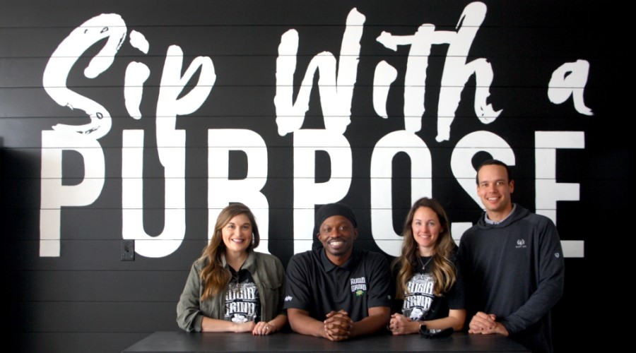 Left to right: Marketing Director Analisa Zepeda, Owner Brian Washington and Managing Partners Jen and Derek Gonseaux operate a coffee roasting company in Cy-Fair called Rugid Grind. (Photos by Danica Lloyd/Community Impact Newspaper)