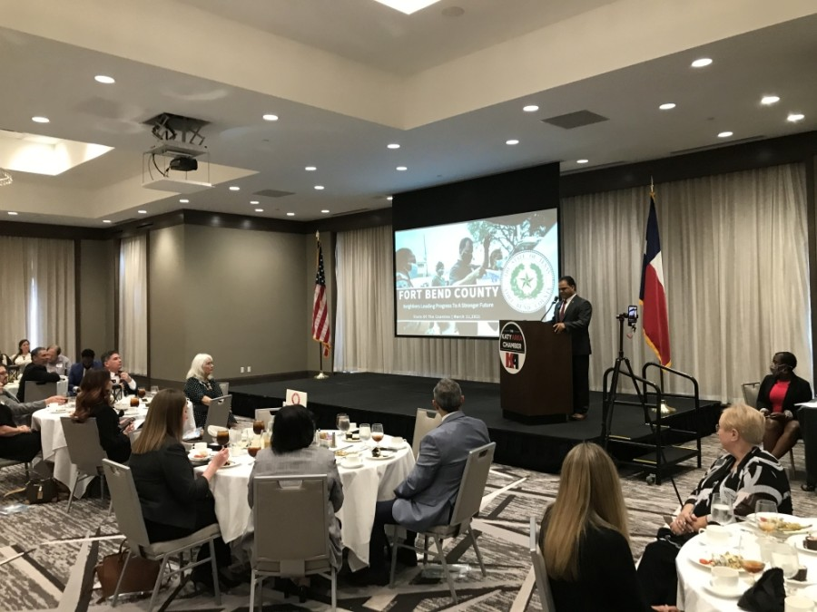 KP George shared updates from Fort Bend County. (Photo by Laura Aebi/Community Impact Newspaper)