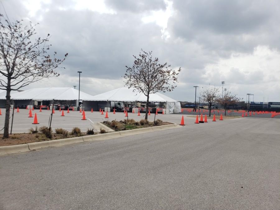 Dell Diamond opened as a drive-thru vaccine site March 12. (Ali Linan/Community Impact Newspaper)