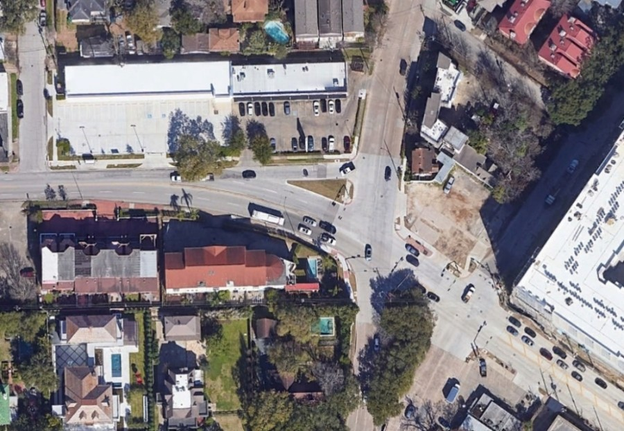 This intersection of Bagby Street and Elgin Street/Westheimer Road will be slightly redesigned to improve pedestrian safety, the city said. (Courtesy Google Earth)