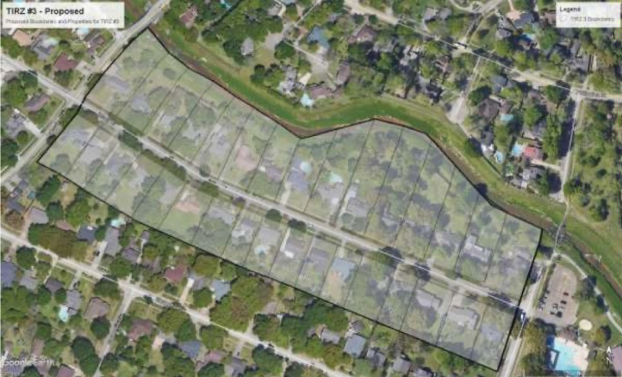 A new tax increment reinvestment zone has been established in Jersey Village encompassing 32 homes on Jersey Drive between Lakeview Drive and Equador Street. (Map courtesy city of Jersey Village)