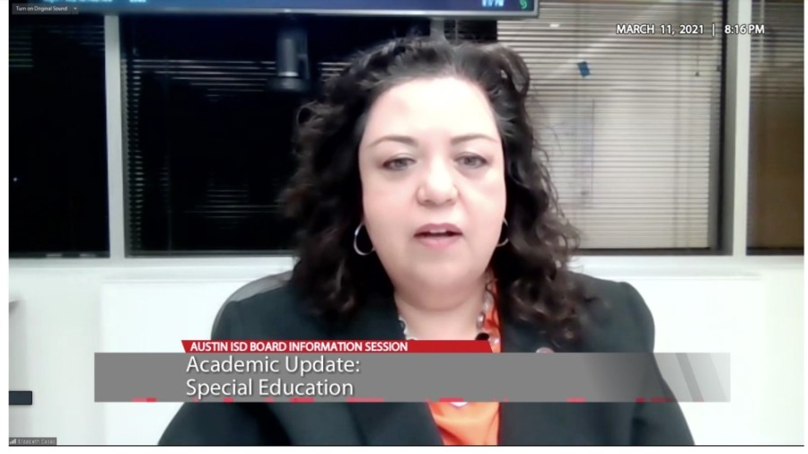 Chief Academic Officer Elizabeth Cases updated Austin ISD trustees on pending special education evaluations March 11. (Courtesy Austin ISD)