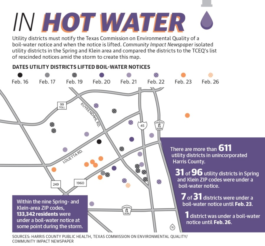 Utility districts must notify the Texas Commission on Environmental Quality of a boil-water notice and when the notice is lifted. Community Impact Newspaper isolated utility districts in the Spring and Klein area and compared the districts to the TCEQ's list of rescinded notices amid the storm to create this map. (Graphic by Ronald Winters/Community Impact Newspaper)