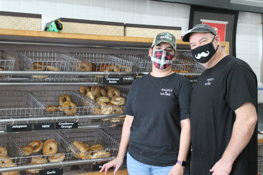 Erin and Mary Stapleton reopened Abby's Bagels & More—formerly Abby's Cafe and Bakery—on FM 1960 in February 2020. (Andy Li/Community Impact Newspaper)
