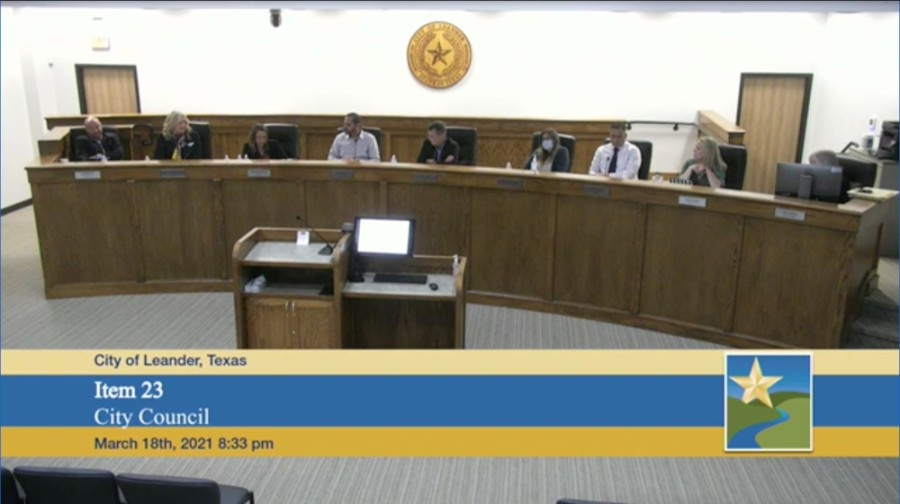Screenshot from March 18 city council meeting