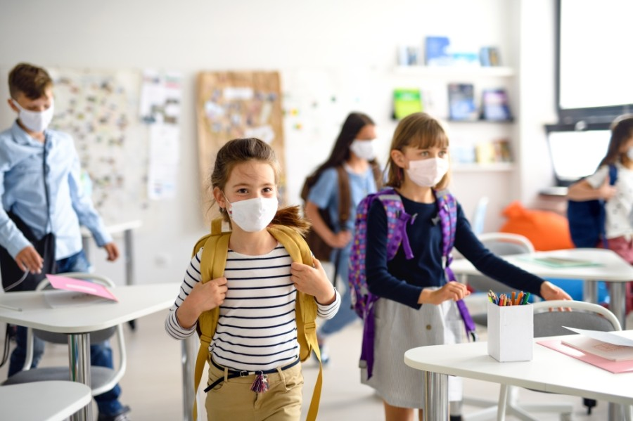 Students with masks.