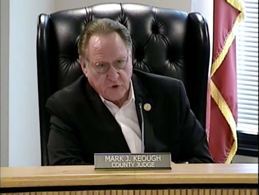 Montgomery County Judge Mark Keough speaks during a March 23 meeting. (Screenshot courtesy Montgomery County)