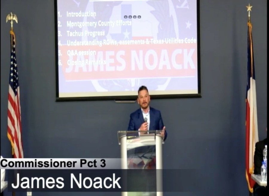 Montgomery County Precinct 3 Commissioner James Noack led a town hall meeting on March 23 about ongoing work by Tachus in south Montgomery County. (Screenshot via Facebook)
