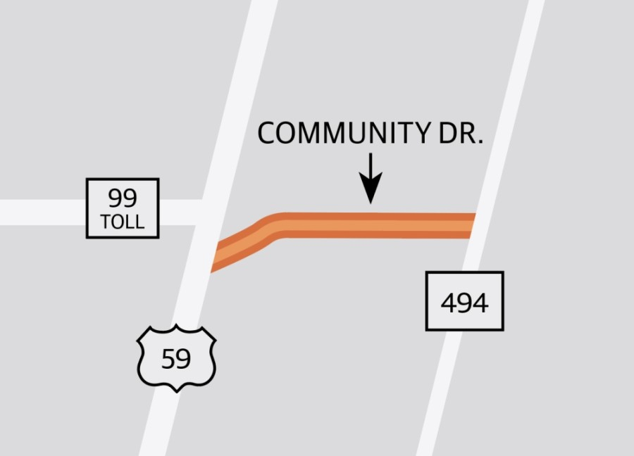 Community Drive is being expanded to have two lanes with a continual turning lane between the Hwy. 59 service road and Loop 494.