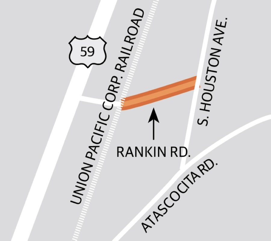 The Rankin Road improvement project will widen and repave the roadway between the Union Pacific Corp. railroad and South Houston Avenue.