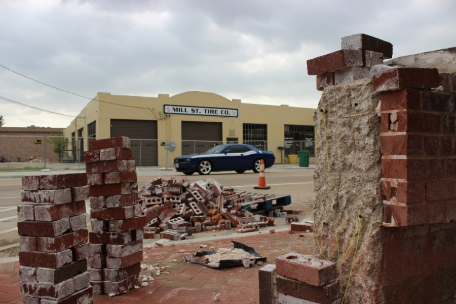 A construction project is expected to come to a close in late April on Main and Mill streets in Old Town Lewisville. (Daniel Houston/Community Impact Newspaper)