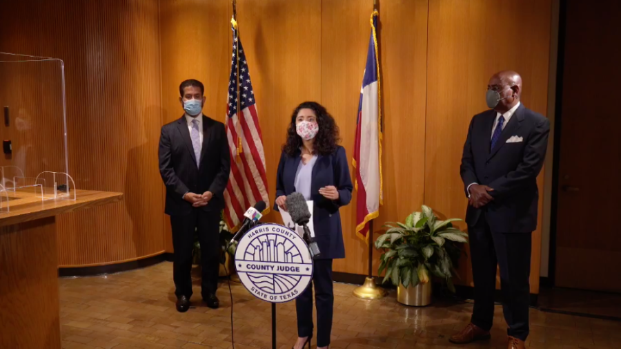 From left: Harris County Precinct 2 Commissioner Adrian Garcia, County Judge Lina Hidalgo and Precinct 1 Commissioner Rodney Ellis speak on equitable practices in vaccine distribution at a March 25 press conference. (Screenshot courtesy Harris County judge's office)