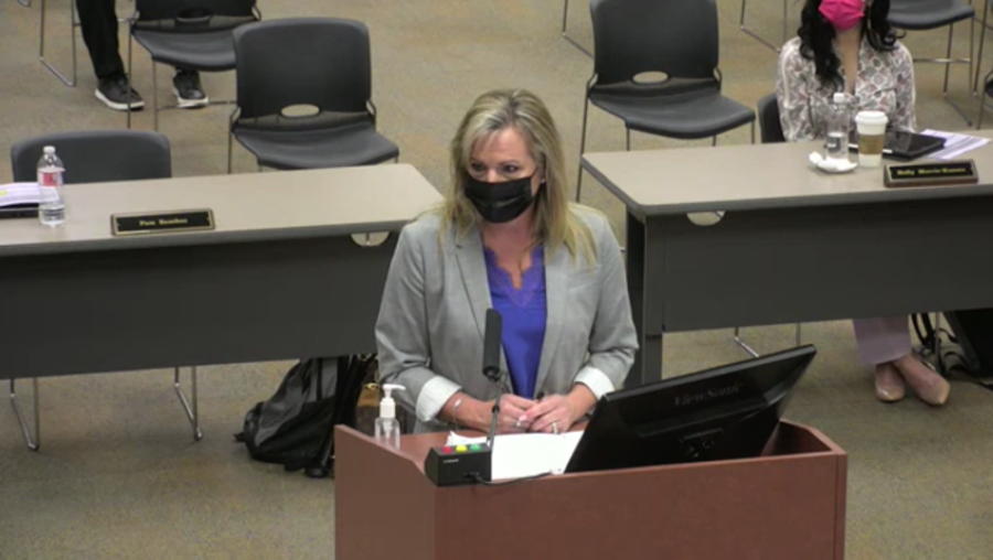 LTISD Chief Financial Officer Pam Sanchez discussed a possible golden penny election during a March 24 board meeting. (Courtesy Lake Travis ISD)