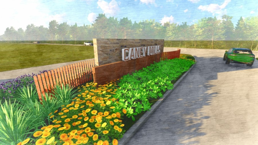 Caney Mills will be located just north of Hwy. 105. (Reendering courtesy The Signorelli Company)