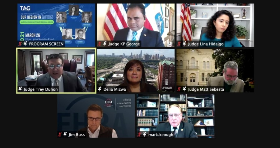 Five county judges in the Greater Houston area joined TAG-Houston for a virtual panel discussion on March 26. (Screenshot via TAG-Houston)